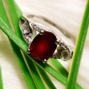 Genuine Ruby & Sterling Silver Ring
